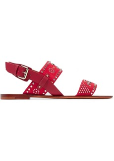 Valentino Garavani Woman Microstud Leather And Suede Slingback Sandals Crimson