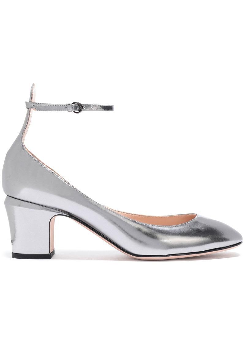 Valentino Garavani Woman Tango Metallic Leather Pumps Silver