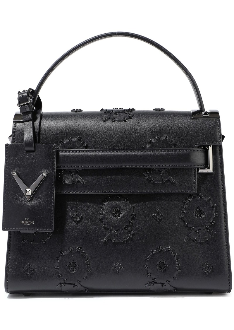 Valentino Garavani Woman My Rockstud Bead-embellished Appliquéd Leather Tote Black