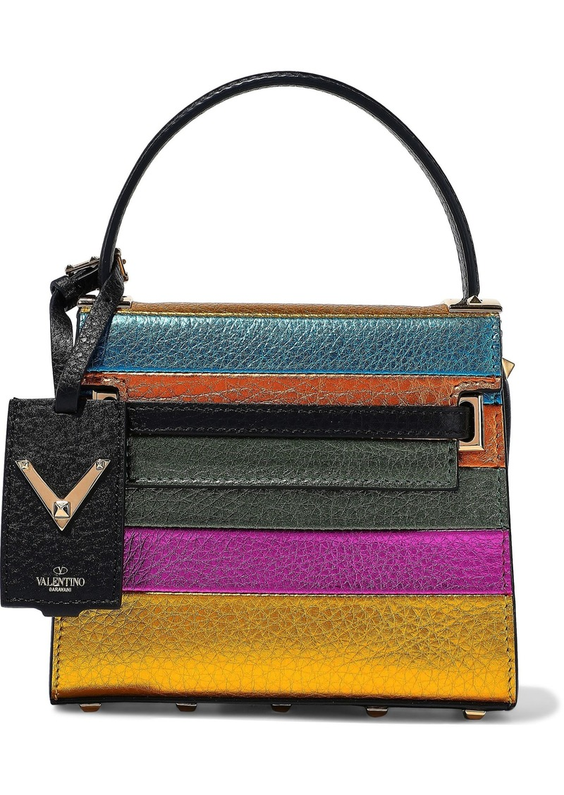 Valentino Garavani Woman My Rockstud Color-block Metallic Textured-leather Tote Multicolor