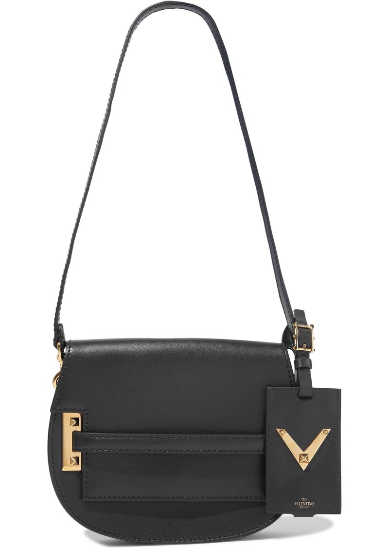 Valentino Garavani Woman My Rockstud Leather Shoulder Bag Black