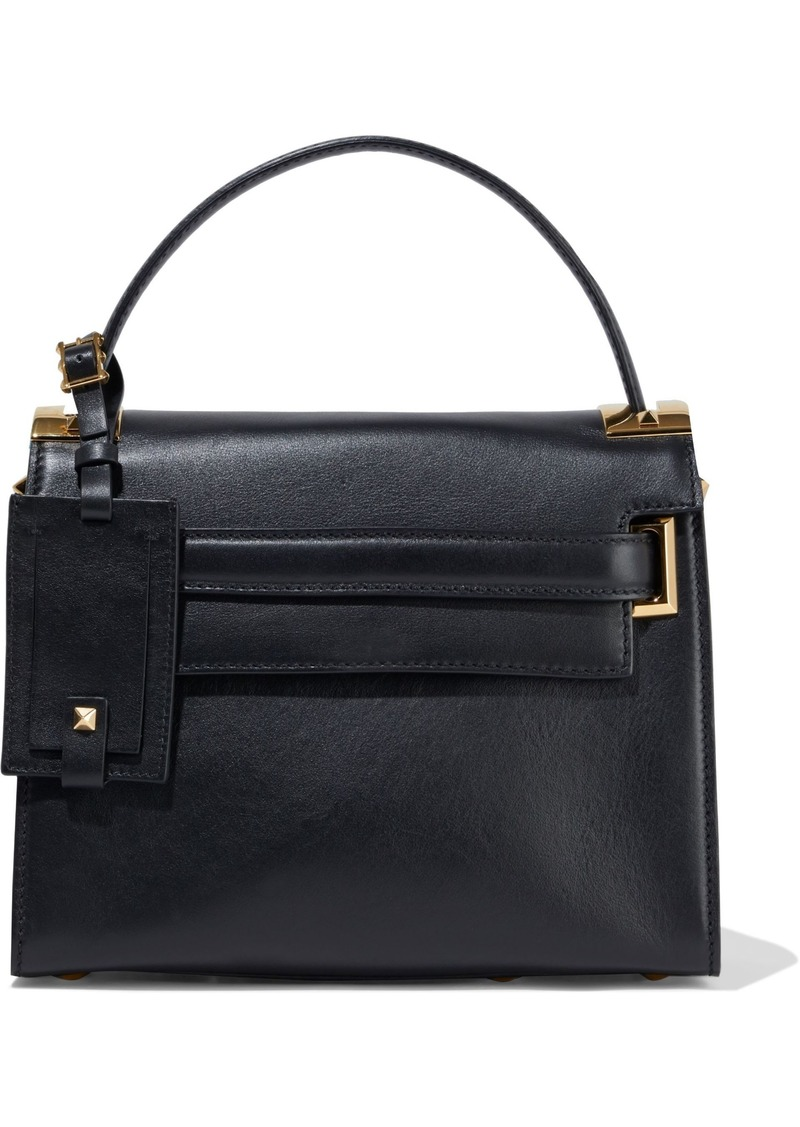 Valentino Garavani Woman My Rockstud Textured-leather Shoulder Bag Black
