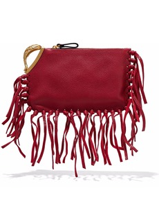 Valentino Garavani Woman Pisces Embellished Textured-leather Clutch Claret