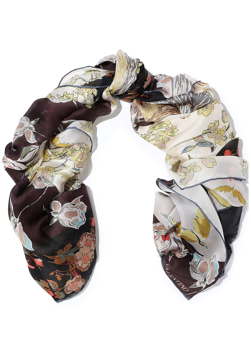Valentino Garavani Woman Floral-print Silk-gauze Scarf Multicolor