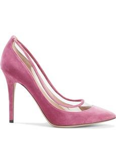 Valentino Garavani Woman Pvc-trimmed Bow-embellished Velvet Pumps Pink