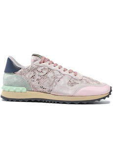 Valentino Garavani Woman Rockrunner Corded Lace Suede And Leather Sneakers Pastel Pink