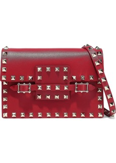 Valentino Garavani Woman Rockstud Buckled Leather Shoulder Bag Red