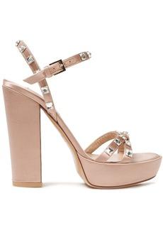 Valentino Garavani Woman Rockstud Glam Satin Platform Sandals Blush