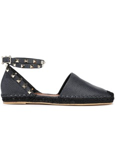 Valentino Garavani Woman Rockstud Double Pebbled-leather Espadrilles Midnight Blue