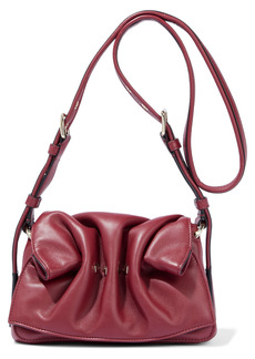 Valentino Garavani Woman Rockstud Gathered Leather Shoulder Bag Claret