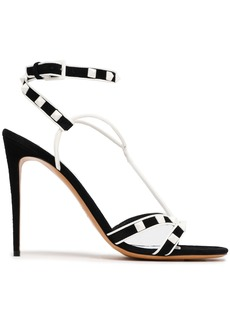 Valentino Garavani Woman Rockstud Leather And Suede Sandals Black