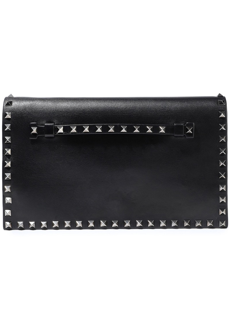 Valentino Garavani Woman Rockstud Leather Clutch Black