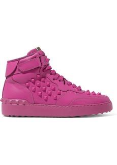 Valentino Garavani Woman Rockstud Leather High-top Sneakers Fuchsia