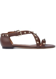 Valentino Garavani Woman Rockstud Leather Sandals Brown