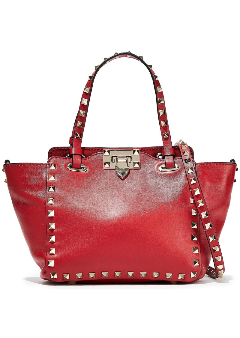 Valentino Garavani Woman Mini Rockstud Leather Shoulder Bag Crimson