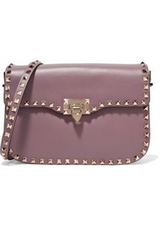 Valentino Garavani Woman Rockstud Leather Shoulder Bag Lilac