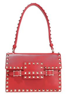 Valentino Garavani Woman Rockstud Leather Shoulder Bag Red