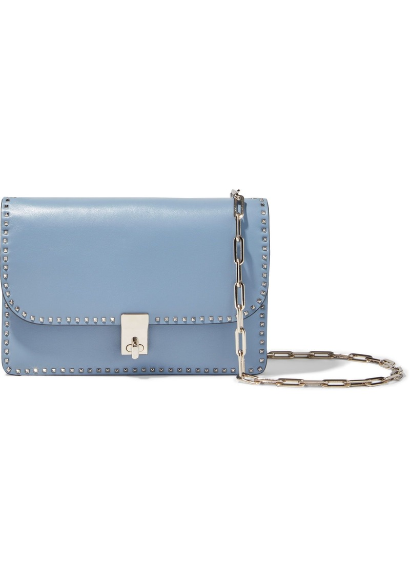 Valentino Garavani Woman Rockstud Leather Shoulder Bag Sky Blue