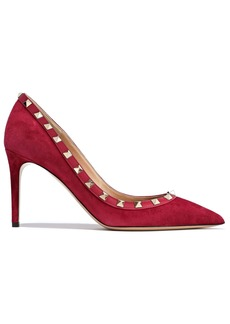 Valentino Garavani Woman Rockstud Leather-trimmed  Suede Pumps Magenta