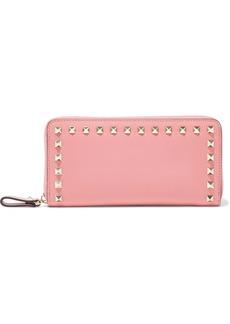 Valentino Garavani Woman Rockstud Leather Wallet Bubblegum