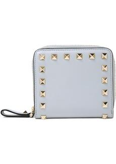 Valentino Garavani Woman Rockstud Leather Wallet Light Gray