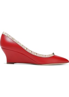 Valentino Garavani Woman Rockstud Leather Wedge Pumps Red