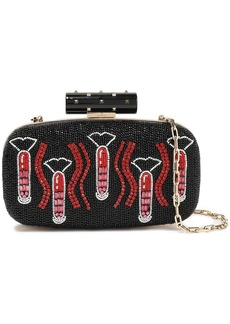 Valentino Garavani Woman Rockstud Lipstick Waves Embellished Leather Clutch Black