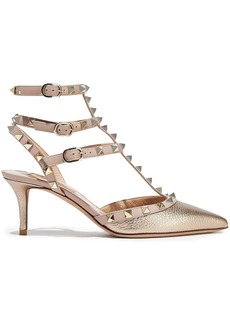 Valentino Garavani Woman Rockstud Metallic Textured-leather Pumps Platinum