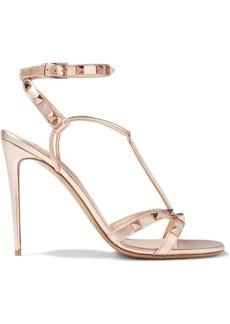 Valentino Garavani Woman Rockstud Metallic Textured-leather Sandals Rose Gold