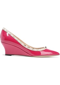 Valentino Garavani Woman Rockstud Patent-leather Wedge Pumps Violet