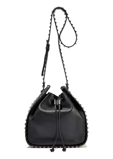 Valentino Garavani Woman Rockstud Pebbled-leather Bucket Bag Black