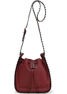 Valentino Garavani Woman Rockstud Pebbled-leather Bucket Bag Crimson