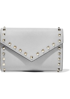 Valentino Garavani Woman Rockstud Pebbled-leather Clutch Gray