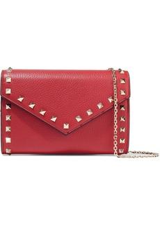 Valentino Garavani Woman Rockstud Pebbled-leather Clutch Red