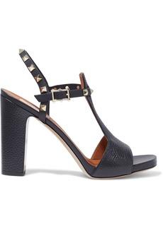 Valentino Garavani Woman Rockstud Pebbled-leather Sandals Black