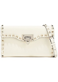 Valentino Garavani Woman Rockstud Pebbled-leather Shoulder Bag Cream