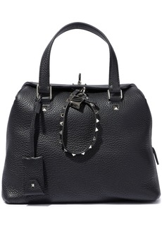 Valentino Garavani Woman Rockstud Pebbled-leather Tote Black