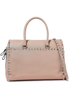 Valentino Garavani Woman Rockstud Pebbled-leather Tote Blush
