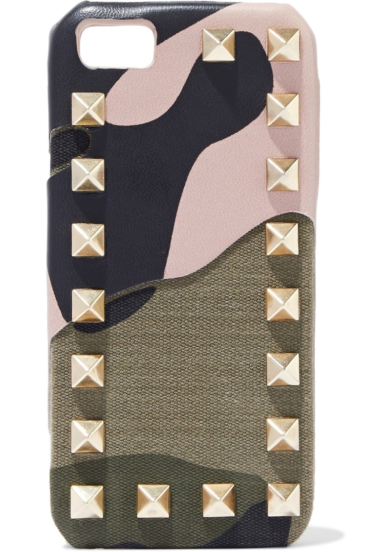 Valentino Garavani Woman Rockstud Printed Leather And Canvas Iphone 5 Case Neutral
