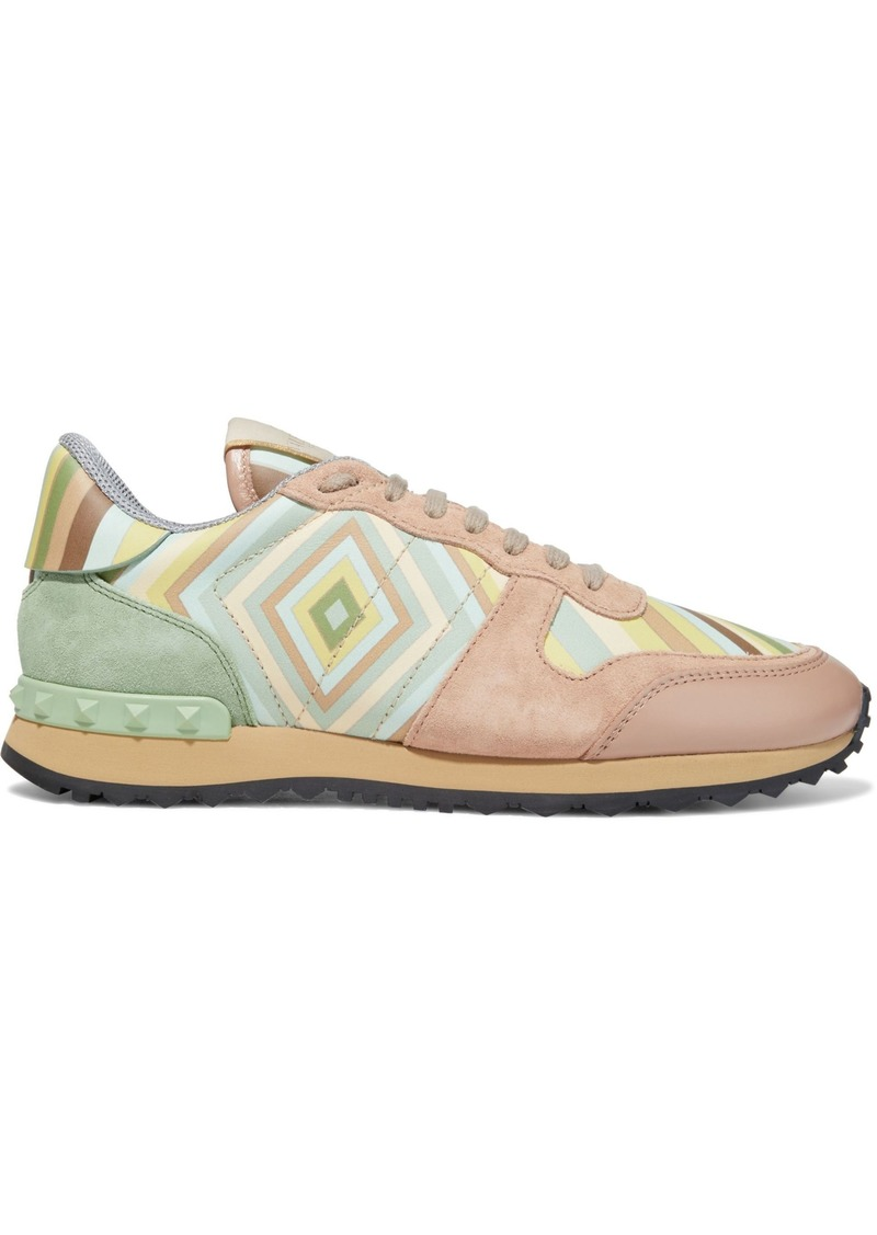 Valentino Garavani Woman Rockstud Printed Suede And Leather Sneakers Mint