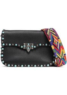 Valentino Garavani Woman Rockstud Rolling Pebbled-leather Shoulder Bag Black