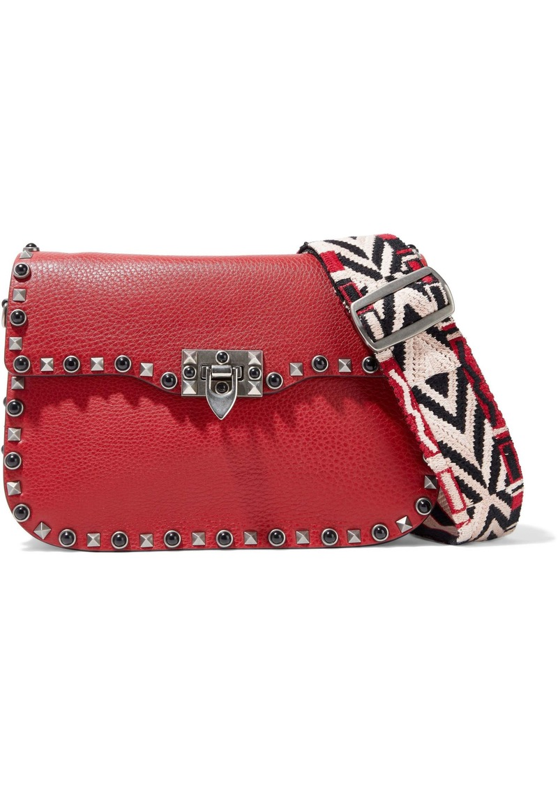 Valentino Garavani Woman Rockstud Rolling Textured-leather Shoulder Bag Crimson