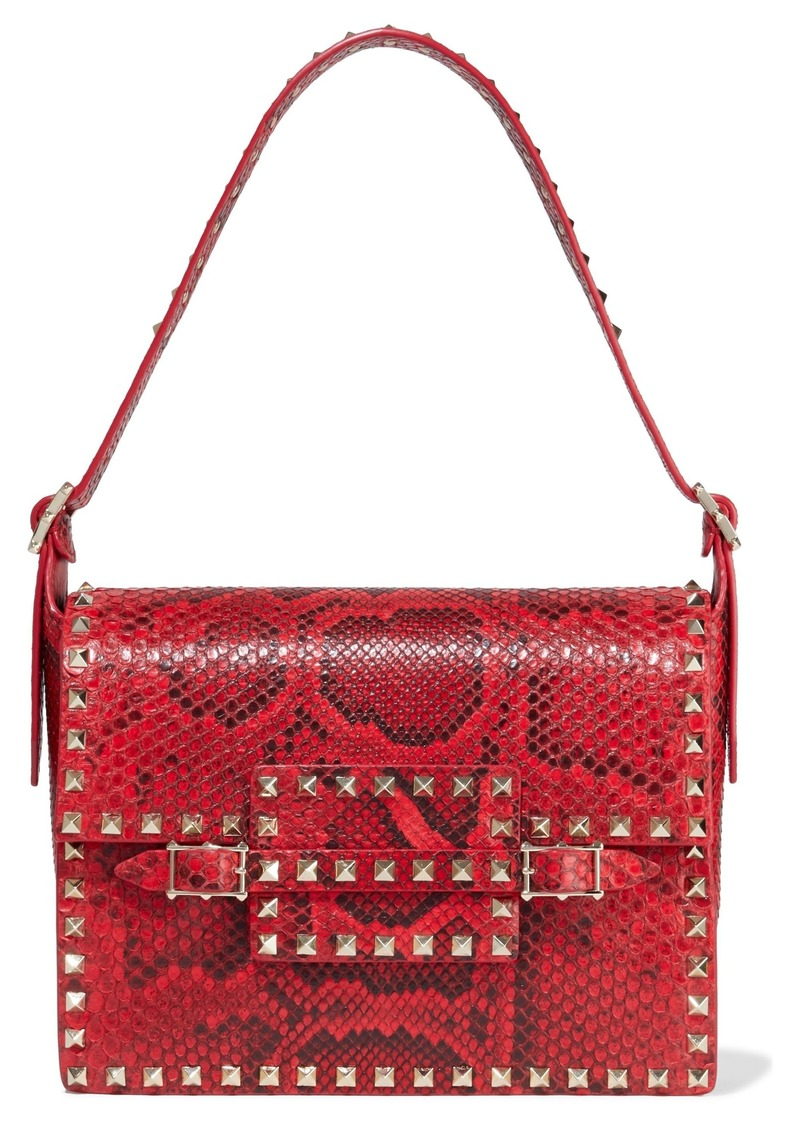 Valentino Garavani Woman Rockstud Watersnake Shoulder Bag Red