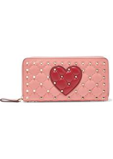 Valentino Garavani Woman Rockstud Spike Appliquéd Quilted Leather Continental Wallet Bubblegum