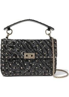 Valentino Garavani Woman Rockstud Spike Bead-embellished Quilted Cracked-leather Shoulder Bag Black