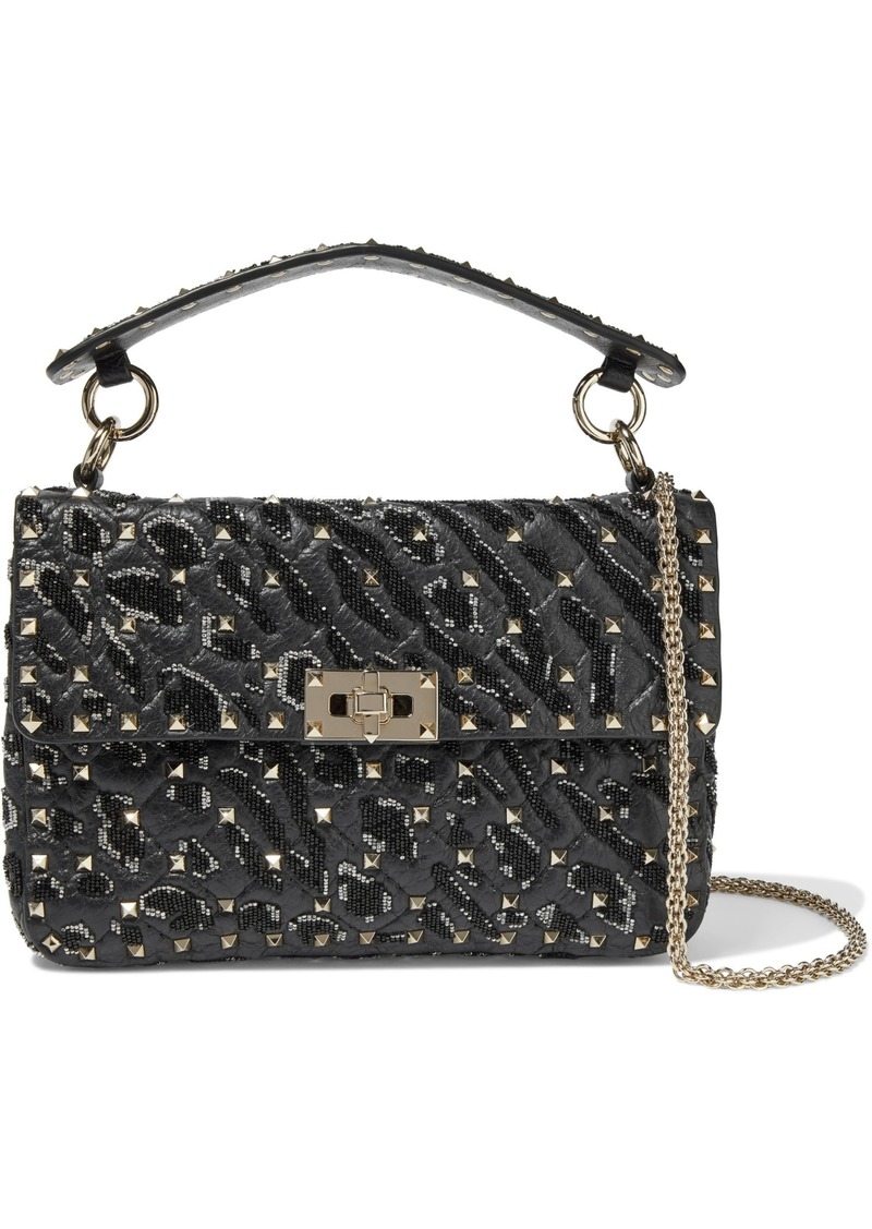 Valentino Garavani Woman Rockstud Spike Bead-embellished Quilted Cracked-leather Shoulder Bag Black