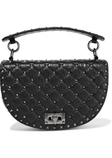 Valentino Garavani Woman Rockstud Spike Quilted Cracked-leather Shoulder Bag Black