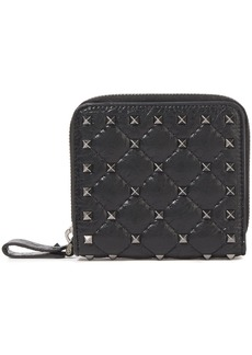 Valentino Garavani Woman Rockstud Spike Quilted Cracked-leather Wallet Black