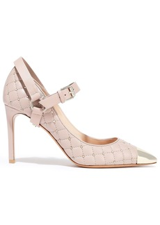 Valentino Garavani Woman Studded Quilted Leather Mary Jane Pumps Antique Rose