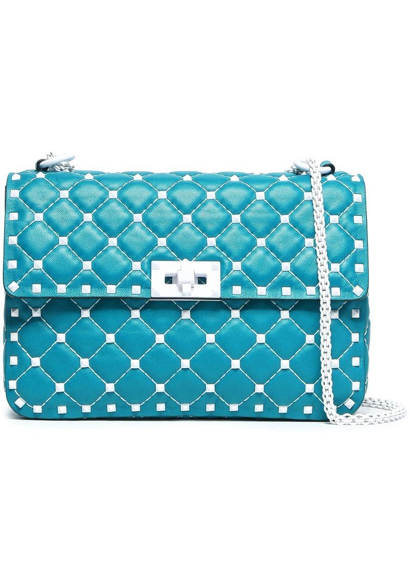 Valentino Garavani Woman Rockstud Spike Quilted Leather Shoulder Bag Storm Blue